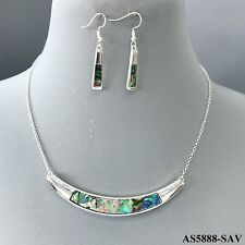 Antique Silver Tone Abalone Color Curved Bar Pendant Necklace with Earrings Set
