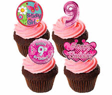 9th Birthday Girl, Pink Edible Cupcake Toppers, Standup Fairy Cake Decorations