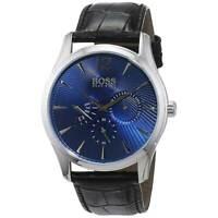 Hugo Boss Men's Watch Commander Chrono Blue Dial Black Leather Strap 1513489
