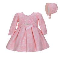Cinda Bebé Encaje BAUTIZO Vestido de fiesta gorro Chaqueta Blanco Con Rosa 0 3 6
