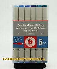 ARTIST'S LOFT 6PC Sketch Markers 2 Tip Blues 516317 NEW