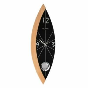 MODERN GLASS & WOOD WALL CLOCK WITH PENDULUM. NEW AND BOXED.