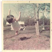 Darling Sun Dress Barefoot Happy Girl Mid Air Swing Vintage Color 1970 Photo