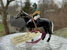 Vintage Kentucky Derby Day Souvenir Metal Horse and Jockey
