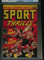 CGC 7.5 HIGHEST GRADED VF- Sport Thrills 12 Accepted Publications LB Cole Grange
