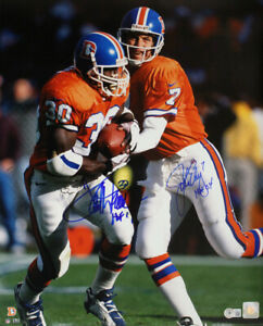 John Elway & Terrell Davis Autographed Denver Broncos 16x20 Photo HOF BAS 32861