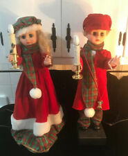 """Vintage 25"""" Christmas Animated VICTORIAN BOY & GIRL Lighted Motionette"""