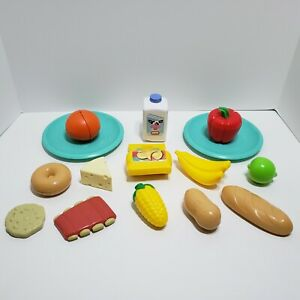 Little Tikes Play Food Lot of 15 Milk Chips Banana Ribs Plates Vegetables