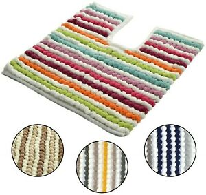 Allure Soft Stripe Bobble Merlin Toilet Pedestal Mat 50 x 50cm Bathroom 2200gsm