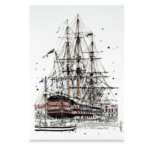 A3 Art Print HMS Victory Hand Sketched Royal Navy Ship Military Linen Cardstock