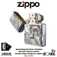 Zippo 20895, Something Patriotic Emblem Lighter, Brushed Chrome, Windproof