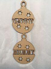 Daddy Mummy Christmas Bauble 100x140mm Mdf