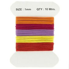 Waxed Cotton Jewellery Cords 1mm Red/Purple And Yellow Mix 10 Metres (E74)