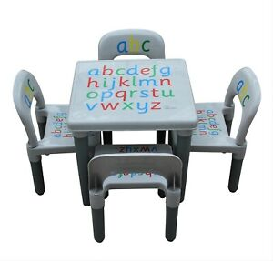 KIDS TABLE AND CHAIR SET ABC Alphabet Childrens Grey - Toddlers Childs - Gift