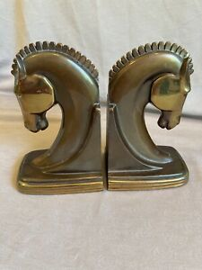Antique Dodge inc Brass Bronze Art Deco Horse Head Bookends