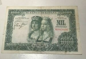 1957 Spain 1000 Pesetas - World Banknote Currency