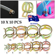 100Pcs 6-22mm Spring Clip Fuel Line Hose Water Pipe Air Tube Clamps Fastener EA