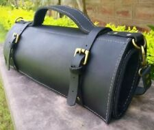 Large Genuine Leather Vintage Silky Black Knife Roll, Chef Knife Bag, Chef Bag