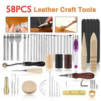 58 PCS Leather Craft Hand Tools Punch Set Vintage Lot Kit Sewing Groover Awl DIY