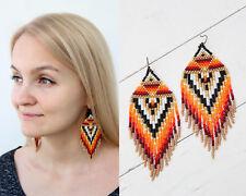 earrings, Indian, Summer earrings Native american beaded earrings,Orange