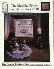 The Matilda Driver Sampler Circa 1836 The Hearts Content Cross Stitch Pattern #5