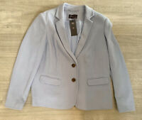 M&S Ladies Blazer Cornflower Blue Long Sleeve Lilac Size 16 Slim Fit Casual