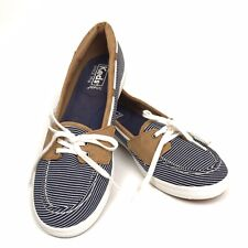Keds Canvas Boat Shoes Womens Sz 9.5 Ortholite Sneakers Blue Pinstripe