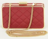 Michael Kors Box Shoulder Clutch Bag Quilted Dark Red Leather RRP £170.00