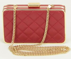 Michael Kors Box Shoulder Clutch Bag Dark Red Quilted Leather Small RRP £170