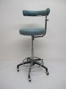 Vtg Brandt Dental Medical Swivel Rolling Stool Chair Round Seat & Armrest Back