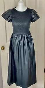 Zara Black Faux Leather Midi Dress With Ruched Bodice Size S