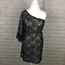 Judith March Anthropologie Women Dress Small Fit & Flare Black Lace One Shoulder