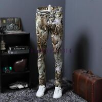 Europe Mens Slim Fit Pants Fashion Floral Print straight Trousers Night Clubwear