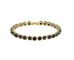 Yellow gold finish created Black onyx round cut bracelet gift boxed free post