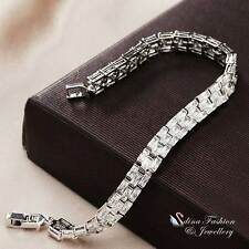 18K White Gold Filled Simulated Diamond Luxury Watch Band Tennis Bracelet