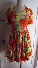 Vintage 50s Rockabilly Bright Floral Swing Flounce Barkcloth Dress S Hawaiian