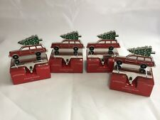 Christmas Stocking Holder Red Car Truck with Tree Lot Of 4