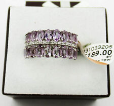 GENUINE 4.77 Cts AMETHYST & DIAMONDS RING .925 sterling silver ** NEW WITH TAG