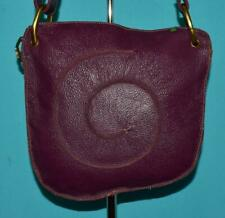 GENUINE Purple Pebbled Leather Shoulder Cross-body Saddle Zip-Top Purse Bag