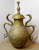 Antique Islamic Engraved Brass Lidded Urn / Pot With Cobra Handles