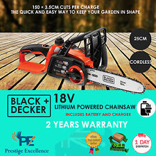 NEW Best Chainsaw 18V 25cm Lithium Powered Electric Cordless - Black + Decker