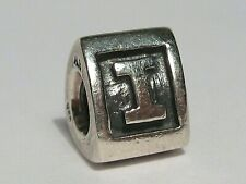 """Pandora """"ALE"""" .925 Sterling Silver Charm: Letter Initial """"I"""" Block Bead.  #120"""