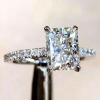 3 CT Diamond Radiant Cut Halo Engagement Promise Ring Solid 14k White Gold Over