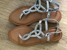 NEXT Women's Girls Sandals Silver Size 4 With Buckles