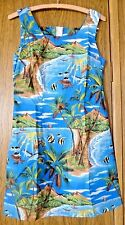 Shannon Marie Hawaii Dress Cotton Sundress Size XS 2 Ocean Palms Fish Turtle