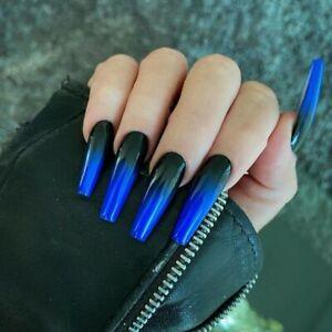 Black Blue Long False Nails Full Extra Long Coffin Artificial Press On Nail Tips