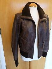 Ladies OASIS Leather Coat Bomber Moto Aviator Brown Size 16