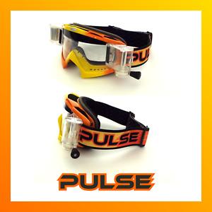 PULSE ORANGE ASSASSIN MOTOCROSS MX ENDURO BMX MTB GOGGLES + 5 ROLL OFF FILMS