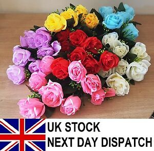 Large Artificial Rose Silk Flowers 7 Flower Head Floral Fake Wedding VARIOUS