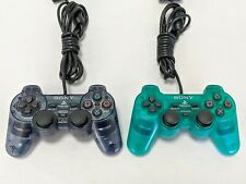 """2 SONY PS2 """"Slate Grey & Emerald Green"""" CONTROLLERS Playstation CLEAN & TESTED"""